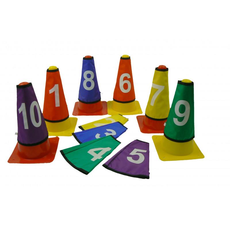 Lot de 10 caches cônes numérotés